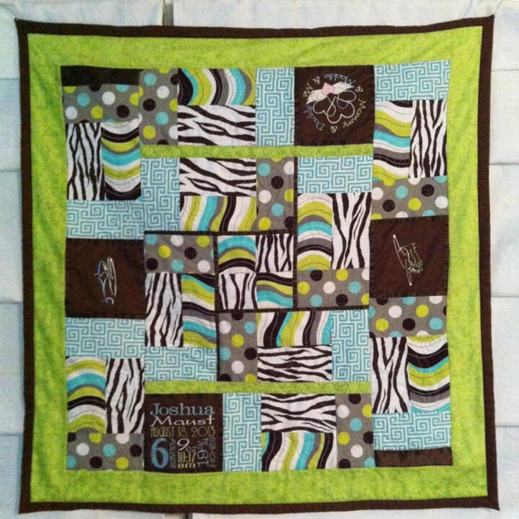 "Custom Baby Quilt  36"" x 36"" with four embroidered blocks"