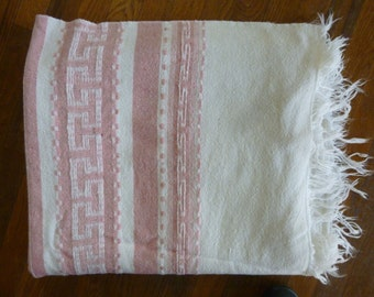 30's 40's Wool Blanket Woven Ecru Rose Arts and Crafts