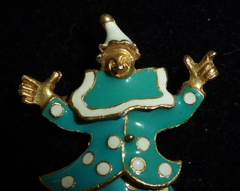 Adorable 1960's Articulated Circus Clown In Blue Polka Dot Suit Gold Tone Enamel Brooch Pin - Free Shipping