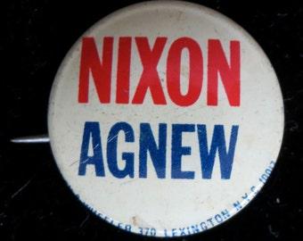 Original 1968 Richard Nixon and Spiro Agnew Presidential Campaign Pin Back Button - Free Shipping