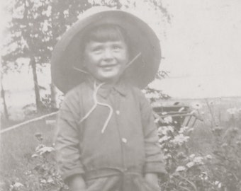 Cute 1930's Future Farmers Of America Little Boy At Breezy Point Snapshot Photo - Free Shipping