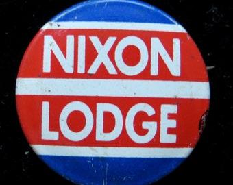 1960 Richard Nixon Lodge Presidential Campaign Pin Back Button - Free Shipping