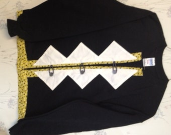 Sweatshirt Cardigan Black  White and Gold  with Polka Dots Size Medium
