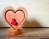 Handmade Wood Heart Box with Polymer Clay Heart Handle with Love letters cherry and clear coat finish leather drawer interior
