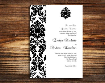 wedding invitations Black and white damask wedding invite