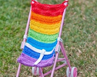 Hand Made-Rainbow Colors Crochet Doll Stroller
