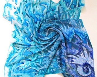 Blue Silk Scarf, Hand Painted Silk Scarf, White and Blue Silk Scarf /Handmade scarf, Handpainted silk scarves/ Silk Scarf Square