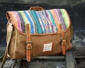 Handmade Leather Canvas handbag Canvas handbag Student Canvas handbag Leisure Packsack canvas Single shoulder bag