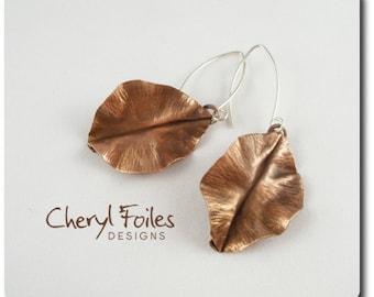 Antique Copper Fold Form Leaf Earrings