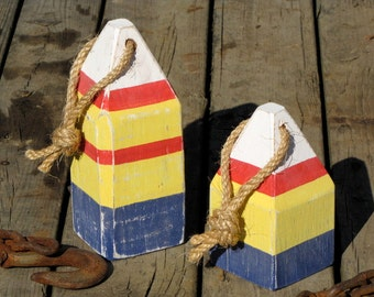 Lobster Bouys, Reclaimed Wood-Set of Two. Nautical & Coastal Decor