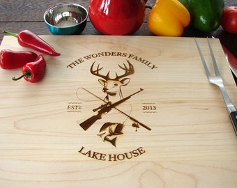 Custom Cutting Board Country Living Fishing and Hunting Gift Host and Hostes Gift Lake House Anniversary Father's Day Present