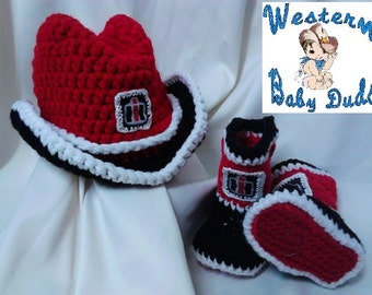 International Harvester inspired Baby Cowboy Hat, Booties and Diaper Cover (not pictured)