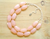Peach Coral statement necklace, Coral statement necklace, double strand statement necklace