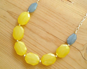 Teal and Yellow necklace, Yellow and Teal necklace
