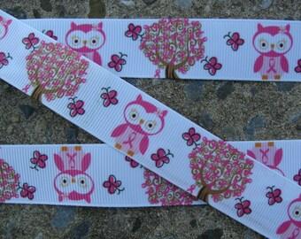 "Pink Owl Printed Ribbon Grosgrain Ribbon Printed Ribbon 7/8"" 3 yards"