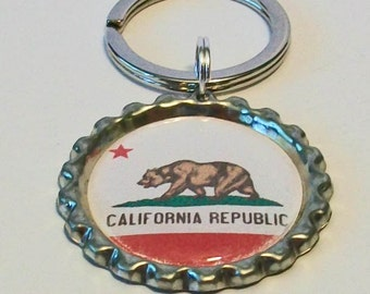 Unique State Love California State Flag All 50 States Available Metal Flattened Bottlecap Keychain