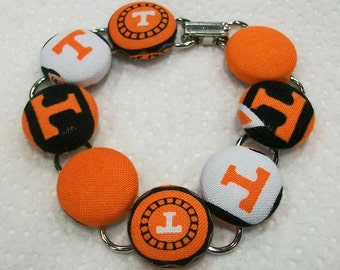 Unique Tennesse Vols Inspired Orange and White Fabric Button Bracelet