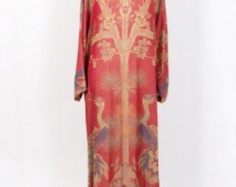 Cashmere Kaftan, Silk Gown, Red, Gold, Embroidered, Dressing Gown, Kimono