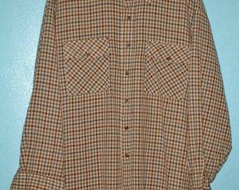 Vintage 1980s Men's long Sleeve Wool or Wool/acrylic Outdoorsy Shirt — Size XL/XXL