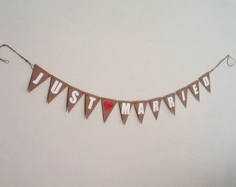 Just Married Bunting...Kraft card stock, Cream lettering, Red Glitter Heart. Wedding, Reception, Photo Prop
