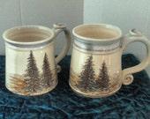 Handpainted SCENIC MUG - wheel thrown stoneware...each mug holds two cups- one remaining