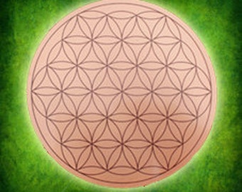 Flower of Life Copper Etched Disc 9cm