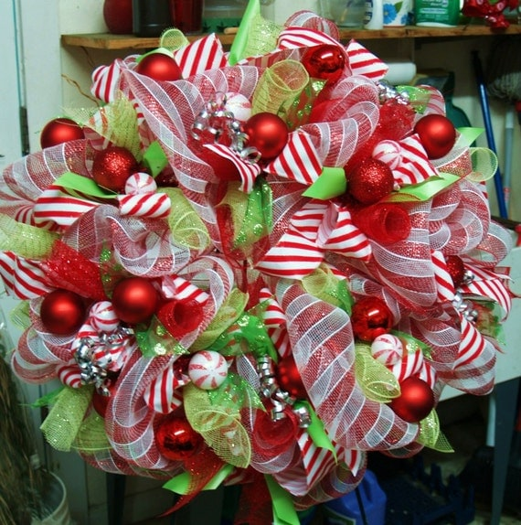 Items Similar To Candy Themed Decomesh Christmas Wreath On