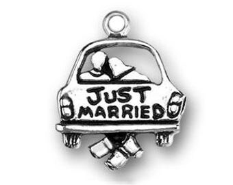 5 Just Married Silver Wedding Charm Pendant Bride Gift 21x17mm by TIJC SP0156