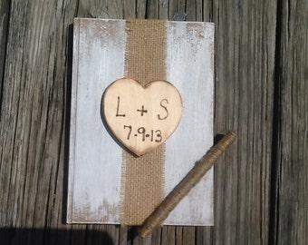 Personalized rustic wedding guest book, country wedding book burlap wedding, shabby chic wedding book