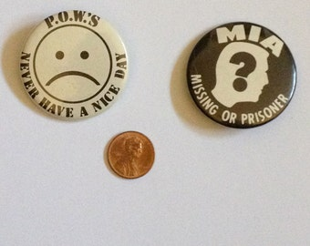 Vintage Vietnam-Era Pinback Buttons, MIA and POW