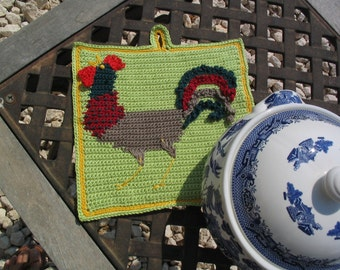 Roger the cockerel potholder pattern.  INSTANT DOWNLOAD