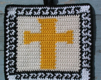 Easter cross with greek key pattern border Potholder