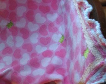 Pink Hearts with Embroidered Frogs Fleece Blanket
