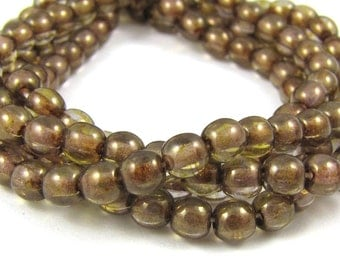 Picasso Gold-Blue 4mm  Round Czech Glass  Beads 100pc #1019