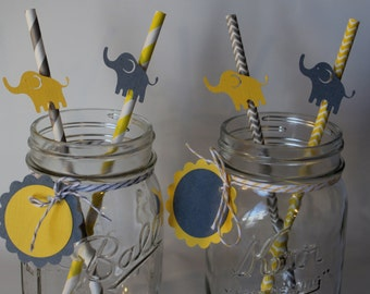 Yellow and Grey gray chevron Elephant striped favor straws for food treats baby shower first birthday twins