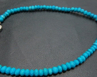 8 Inches Turquoise Single Strand Bracelet With 92.5 Sterling Silver Stone Size 3 mm Approx