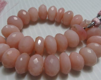 8 Inches AAA Top Quality 100 % Natural Stone  Pink Opal Faceted Rondoll Beads Size 10 mm To 11 mm Approx