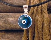 Blue Evil Eye Protection Necklace Greek Mati Hamsa Nazar 925 Sterling Silver Pendant Charm 12mm on Black Leather