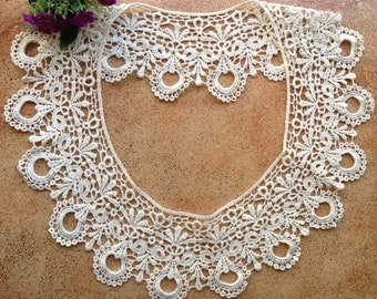 Cotton Lace Collar, Beige Embroidery Collar, Woman Fashion Necklace