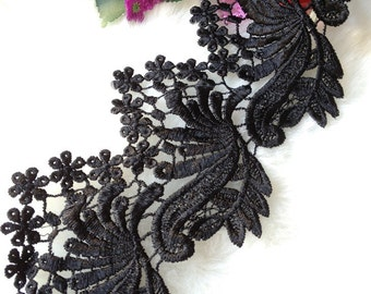 Black Lace Trim, Chic Black Lace, Embroidered Lace Trim, 4.33 inches wide 2 yards