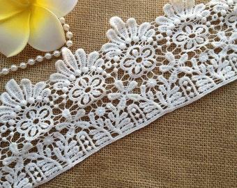 White Cotton Lace, Victorian Fabric Lace, Craft Lace Trim, Florals Lace Trim, 2 Yards