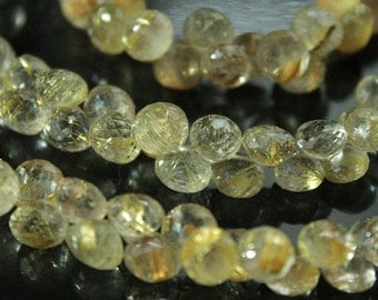 Golden Rutilated Quartz Faceted Onion Briolettes, 5~6 mm, 5 beads GM3002FO/5 #99