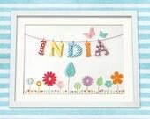 Personalised Custom Made Baby or Child Name Art Print, Bunting & Flower Meadow, Nursery Art