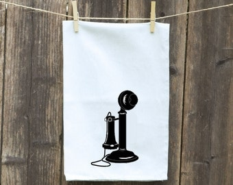 Telephone Towel-Kitchen Towel with Vintage Phone, Funny-Hand Towel-Flour Sack Towels-Dish Towel-Customizable Tea Towel-Vintage Phone