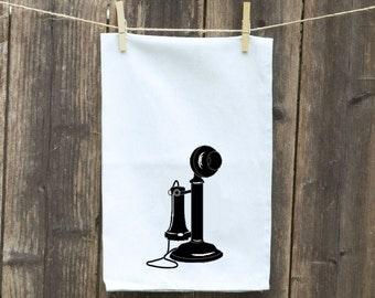 Tea Towels-Kitchen Towels-Hand Towels-Flour Sack Towels-Dish Towels-Customizable Tea Towels-Vintage Phone
