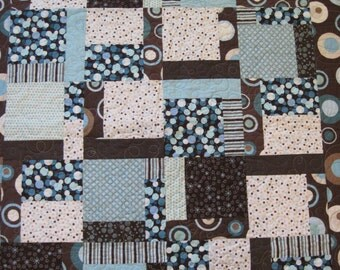 Brown and Teal Baby Quilt - baby/toddler/lap/wall quilt - polka dots and stripes