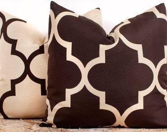 Brown and Cream Trellis Pillow Case Set, Luxury Cotton Pillow Cases, Pillowcases for Sofa, TWO 16 x 16
