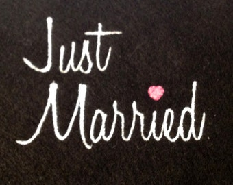Just Married Machine Embroidery Design in Three Sizes - Perfect Newlywed Machine Embroidery Design