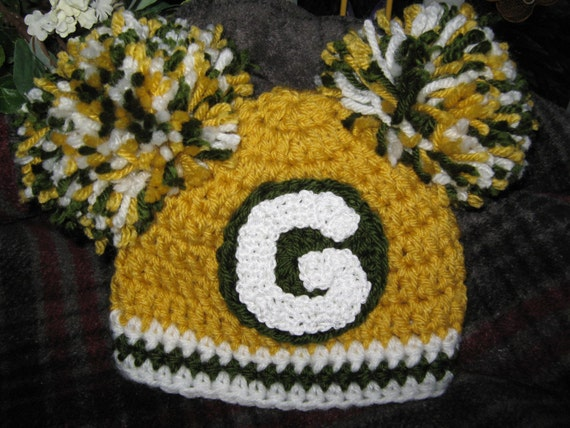 Crochet Beanie Baby Hat Green Bay Packers By