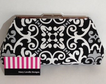 Black with Grey and White Print on Cotton Clutch with Silver Tone Finish Snap Close Frame